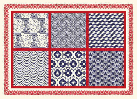 Set of seamless patterns on the Asian theme. Perfect for fabric print, decoration, poster, packaging, and many other uses. The frame around the pattern is in a separate group.