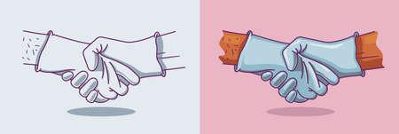Vector illustration of a handshake in medical gloves for two version Illusztráció