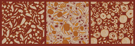 Set of seamless patterns on the bakery theme. Perfect for packaging, textile, decoration cafe, and many others uses