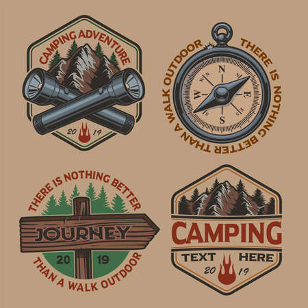 Set of vector color logos for the camping theme on white background. Perfect for posters, apparel, T-shirt design and many other. Layered