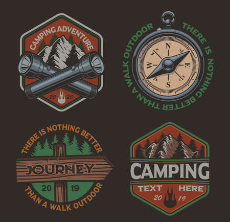 Set of vector color logos for the camping theme. Perfect for posters, apparel, T-shirt design and many other. Layered
