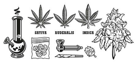 Set elements devices for smoking marijuana leaves on the white background Illusztráció