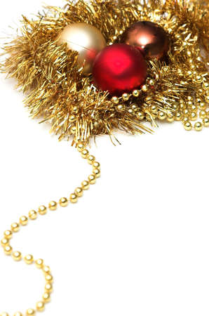 A collection of shiny Christmas decorations and tree adornments photo
