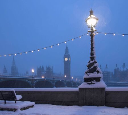 Big Ben in a rare Snow Blizzard