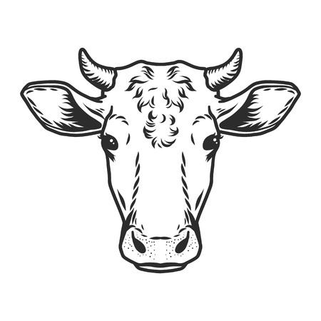 Kuhkopfikone. Umriss nand gezeichnete Illustration des Kuhkopfvektorsymbols für Web