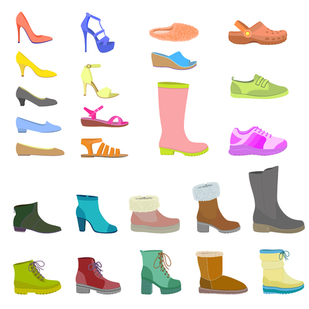 Shoes icon set. Flat set of shoes vector icon isolated for web design