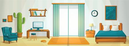 Interior room concept background. Cartoon illustration of interior room vector concept background for web design