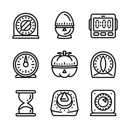 Kitchen timer icon set. Outline set of kitchen timer vector icons for web design isolated on white background 免版税图像 - 110201794
