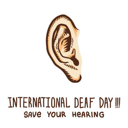 International ear day concept background. Hand drawn illustration of international ear day vector concept background for web design Ilustração