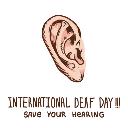 Global ear day concept background. Hand drawn illustration of global ear day vector concept background for web design