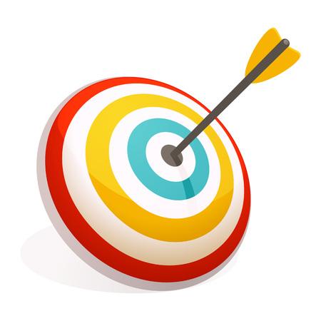 Flecha en el icono de destino. Caricatura de flecha en el icono de vector de destino para diseño web aislado sobre fondo blanco.
