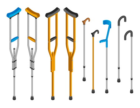 Injury crutches icon set. Isometric set of injury crutches vector icons for web design isolated on white background