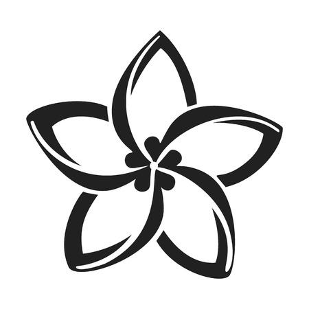Plumeria flower icon. Simple illustration of plumeria flower vector icon for web design isolated on white background