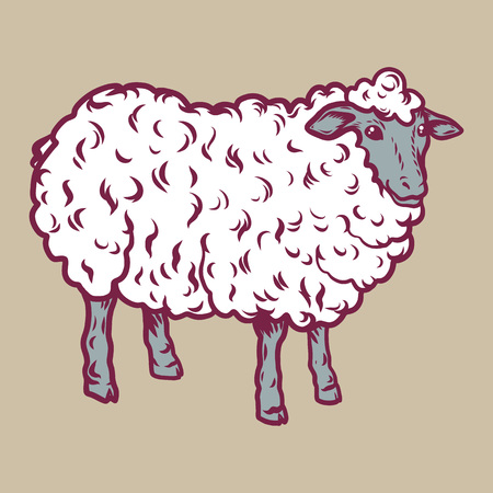Sheep icon. Hand drawn illustration of sheep vector icon for web design Vector Illustration