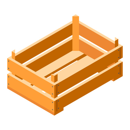 Crate icon. Isometric of crate vector icon for web design isolated on white background Vecteurs