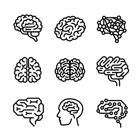 Zestaw ikon mózgu. Zarys zestaw ikon wektorowych mózgu do projektowania stron internetowych na białym tle Ilustracje wektorowe