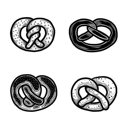 Insieme dell'icona di pretzel. Insieme disegnato a mano delle icone di vettore della ciambellina salata per il web design