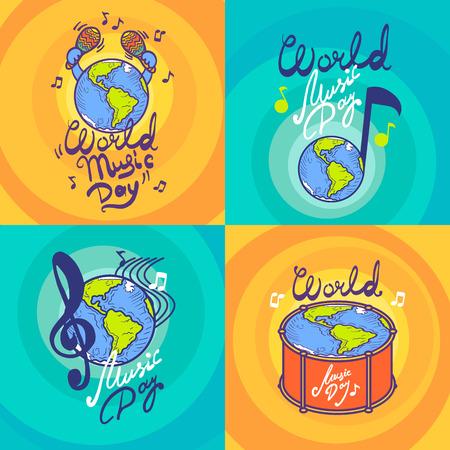 Conjunto de banners del día de la música. Dibujado a mano conjunto de banner de vector de día de la música para diseño web Ilustración de vector