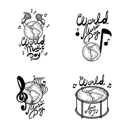 World music day banner set. Hand drawn set of world music day vector banner for web design Vettoriali