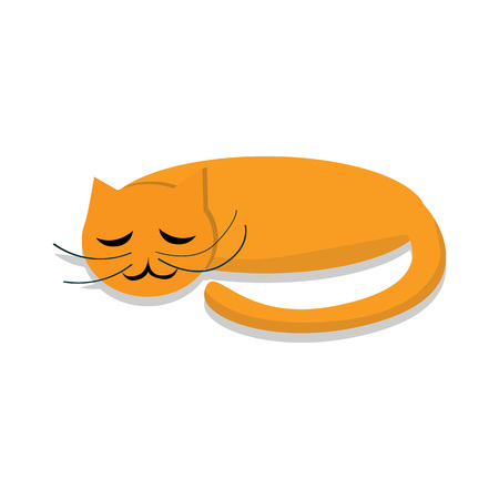 Sleeping cat icon. Cartoon of sleeping cat vector icon for web design isolated on white background Illustration