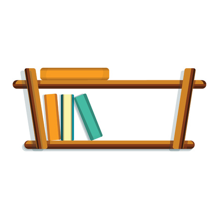 Wood book shelf icon. Cartoon of wood book shelf vector icon for web design isolated on white background