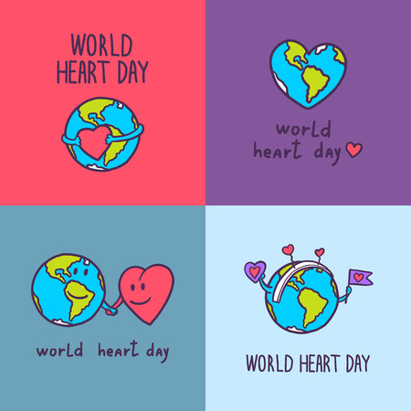 Global heart day banner set. Hand drawn set of global heart day vector banner for web design Illustration