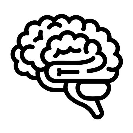 Brain icon. Outline brain vector icon for web design isolated on white background