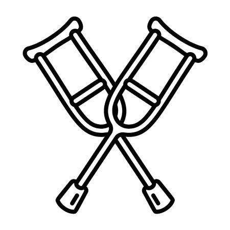 Icona di stampelle. Outline stampelle icona vettoriali per il web design isolato su sfondo bianco