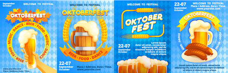 Welcome to Oktoberfest banner set. Cartoon illustration of welcome to Oktoberfest vector banner set for web design