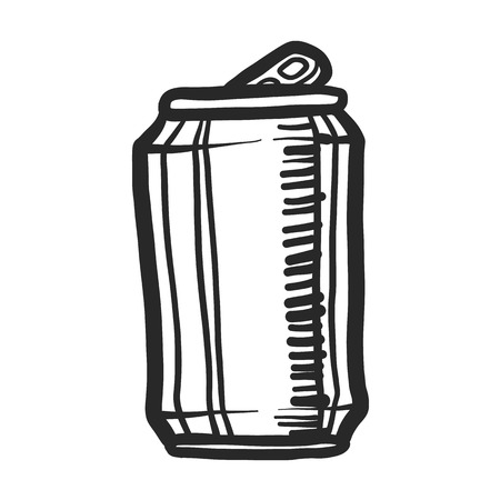 Beer can icon. Hand drawn illustration of beer can vector icon for web design