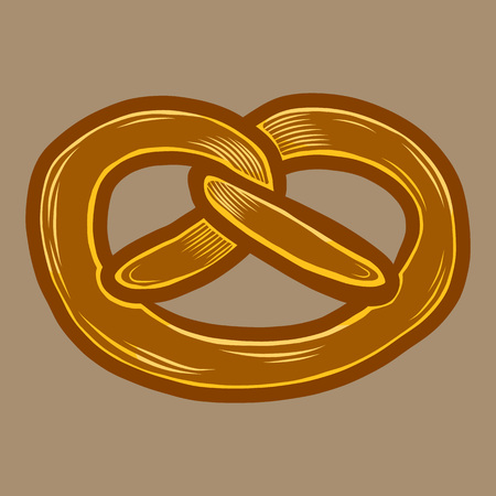 Fresh pretzel icon. Hand drawn illustration of fresh pretzel vector icon for web design