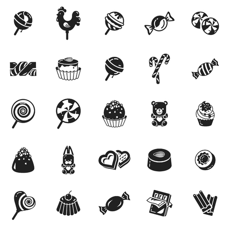 Sweet candy icon set. Simple set of sweet candy vector icons for web design on white background Vektorové ilustrace