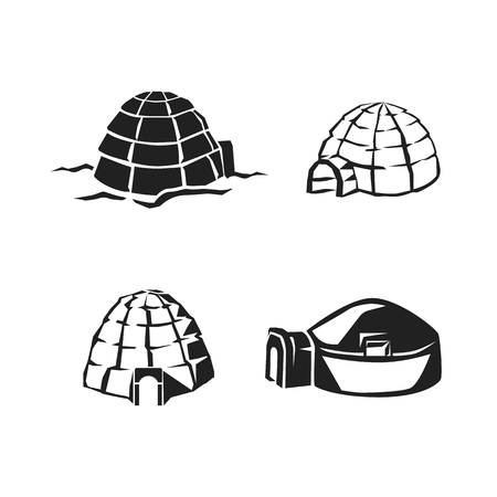 Igloo icon set. Simple set of igloo vector icons for web design on white background Illustration