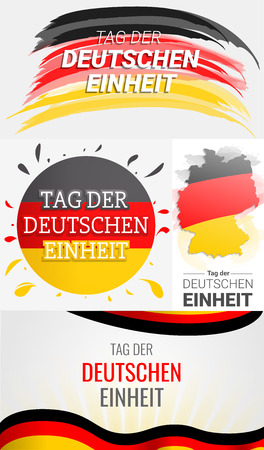 Happy deutschen Einheit banner set. Hand drawn set illustration of happy deutschen Einheit vector banner for web design 일러스트