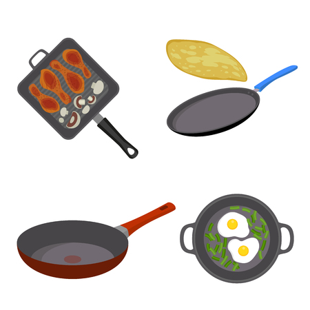 Griddle pan icon set. Flat set of griddle pan vector icons for web design Illustration