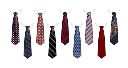 Tie suit icon set. Realistic set of tie suit vector icons for web design isolated on white background Vectores