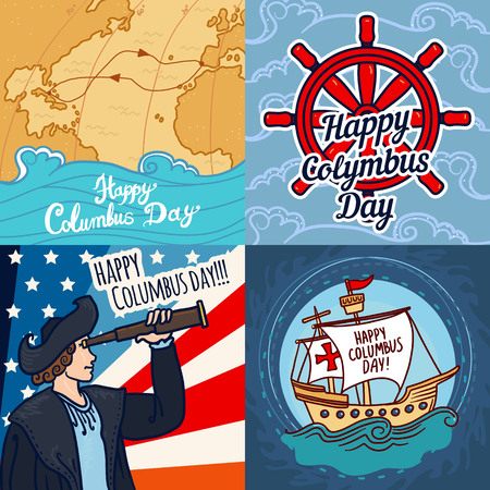 Happy columbus day banner set. Hand drawn set illustration of happy columbus day vector banner for web design