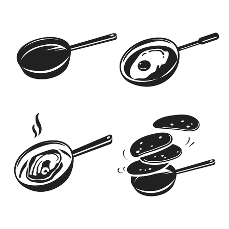 Griddle icon set. Simple set of griddle vector icons for web design on white background Vector Illustratie