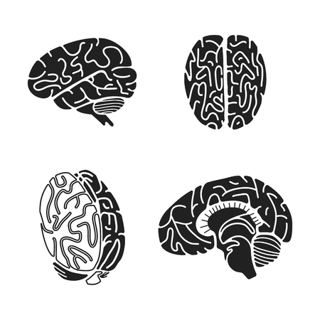 Brain icon set. Simple set of brain vector icons for web design on white background