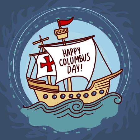 船コロンブスの日のコンセプトの背景。ウェブデザインのための船コロンブス日ベクトルコンセプトの背景の手描きのイラスト
