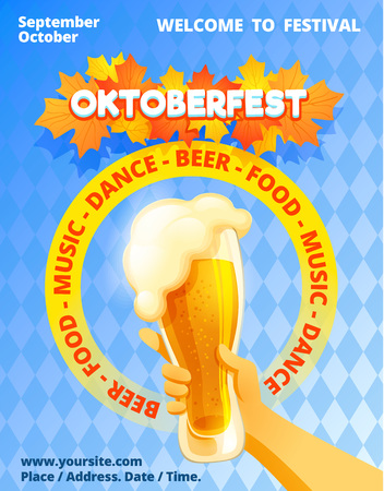 Oktoberfest concept banner. Cartoon illustration of oktoberfest vector concept banner for web design Çizim