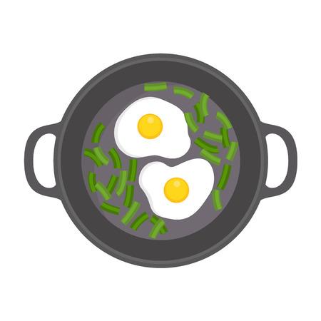 Egg on griddle icon. Flat illustration of egg on griddle vector icon for web design