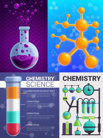 Jeu de bannière de chimie. Bande dessinée illustration de bannière de vecteur de chimie pour la conception web