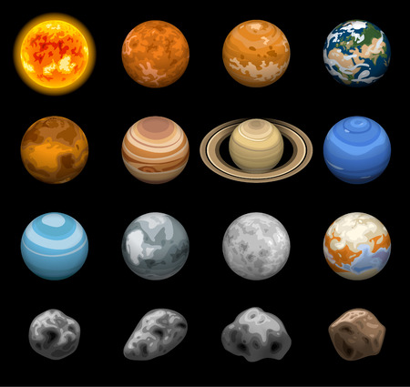 Space planets icon set. Isometric set of space planets vector icons for web design isolated on black background Çizim