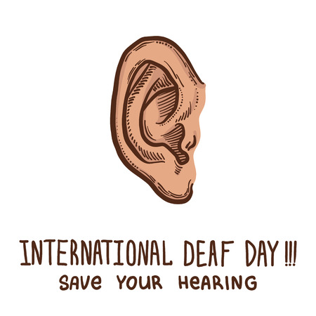 International ear day protect concept background. Hand drawn illustration of international ear day protect concept background for web design Imagens