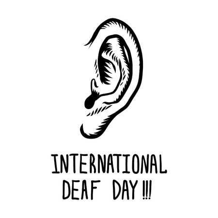 International deaf day concept background. Hand drawn illustration of international deaf day concept background for web design