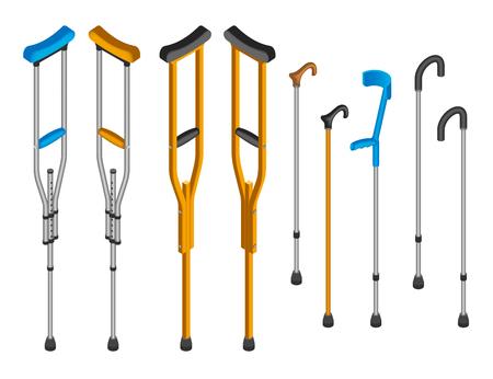 Injury crutches icon set. Isometric set of injury crutches icons for web design isolated on white background
