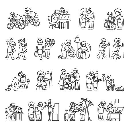 Older persons icon set. Simple set of older persons icons for web design on white background