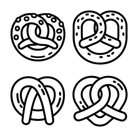 Bavarian pretzel icon set. Outline set of bavarian pretzel icons for web design isolated on white background