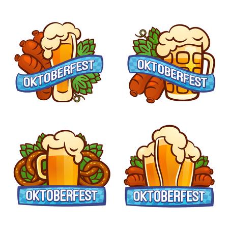 Oktoberfest logo set. Cartoon set of oktoberfest logo for web design